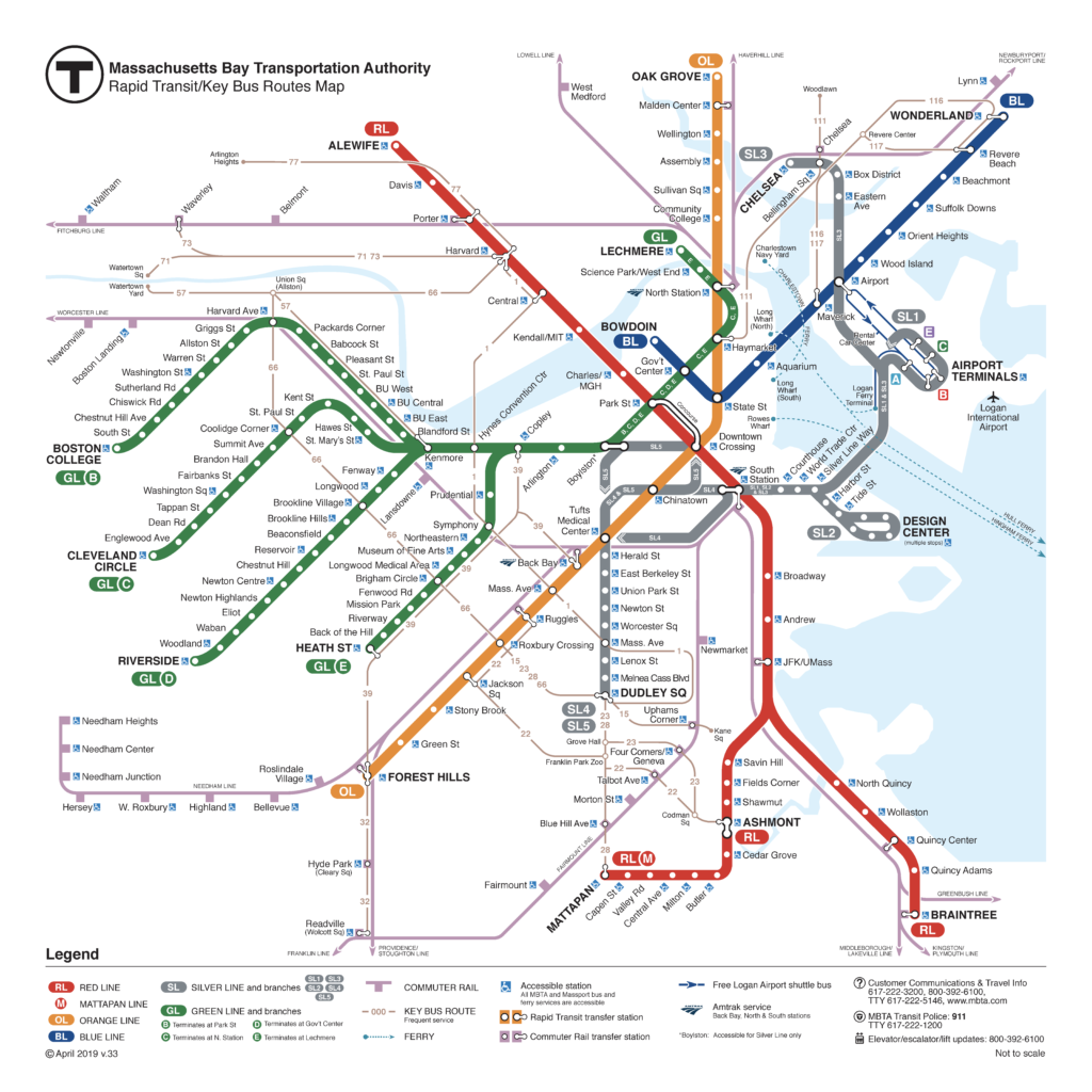 Boston MBTA subway map